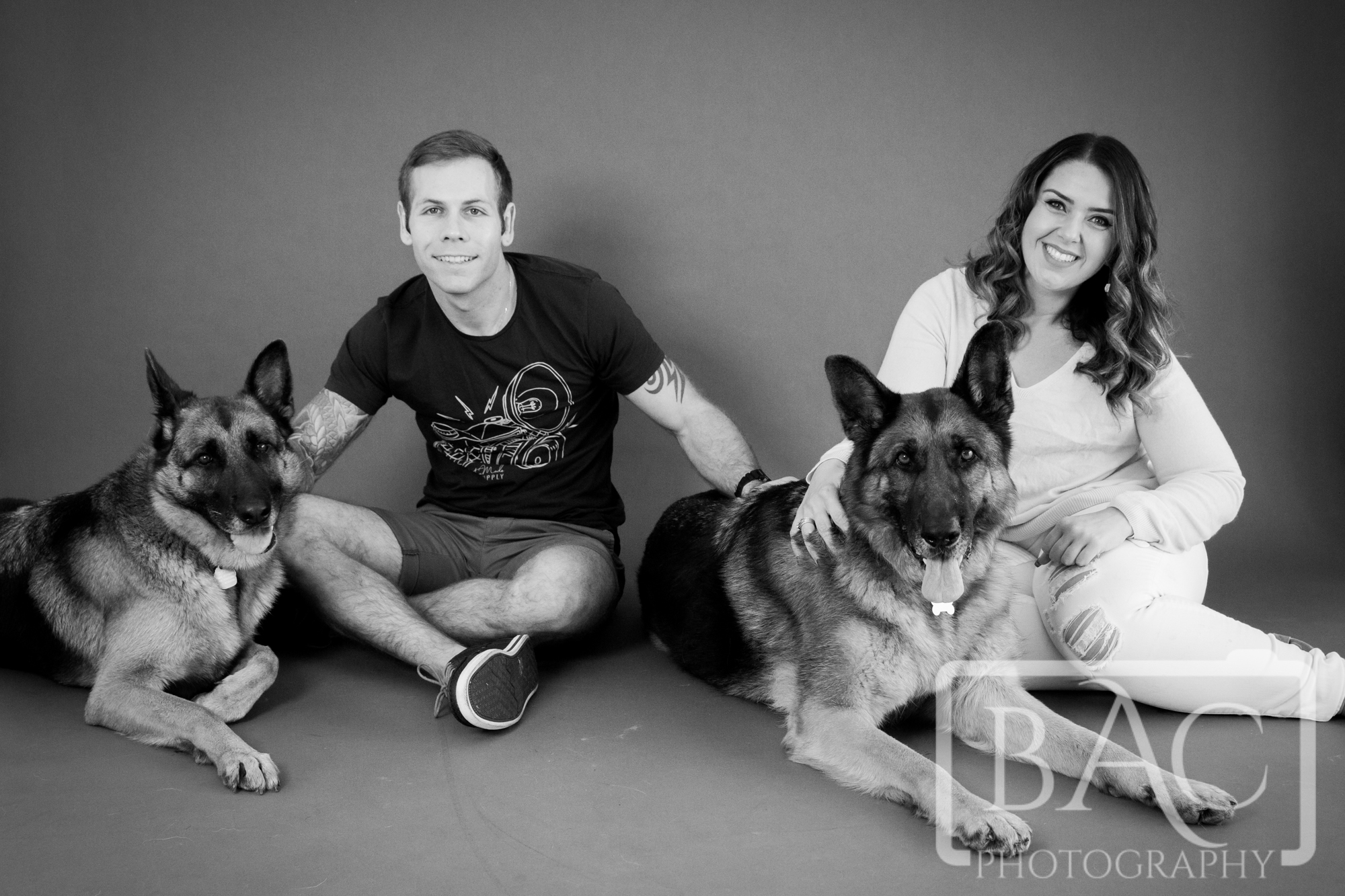 Couples Portrait with German Shepherds in our North Lakes Studio