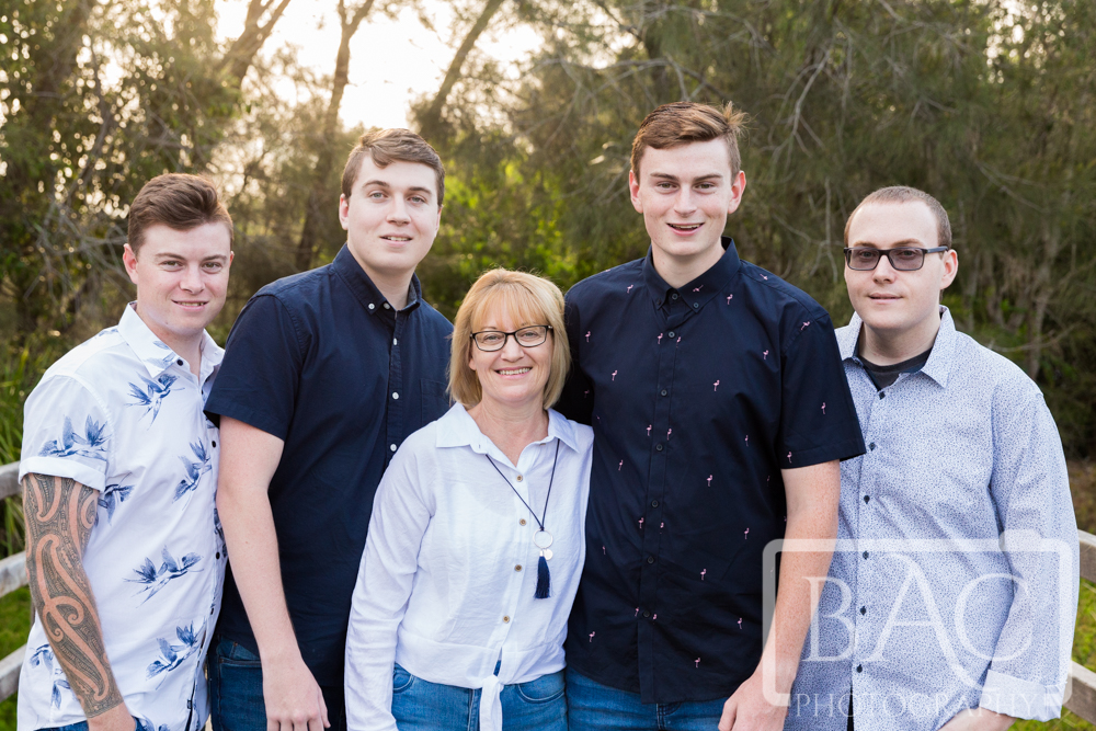 Portrait of Mum with her 4 adult sons