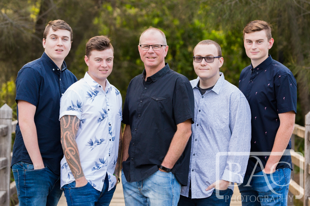 Portrait of Dad with his 4 adult sons