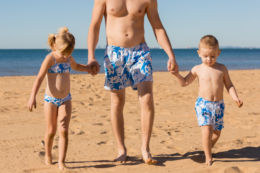 Commercial Portrait Childrens swimwear kids with dad
