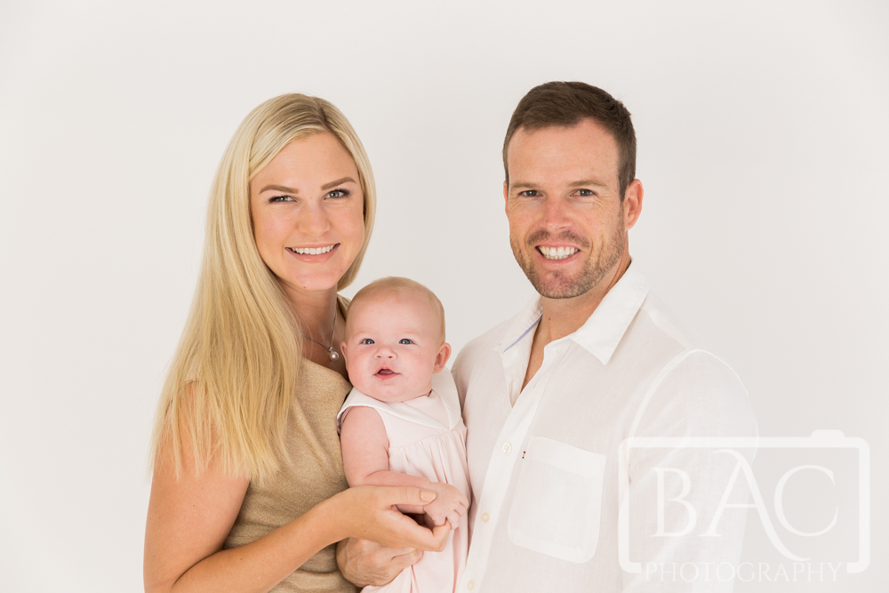Studio family of 3 portrait