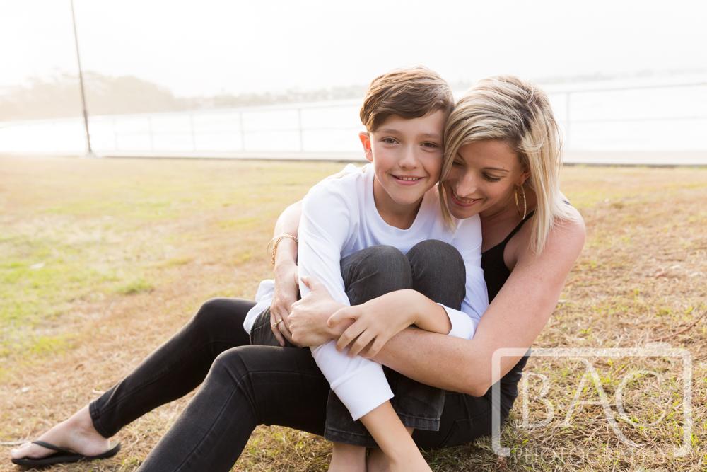 mum and son hugging portrait