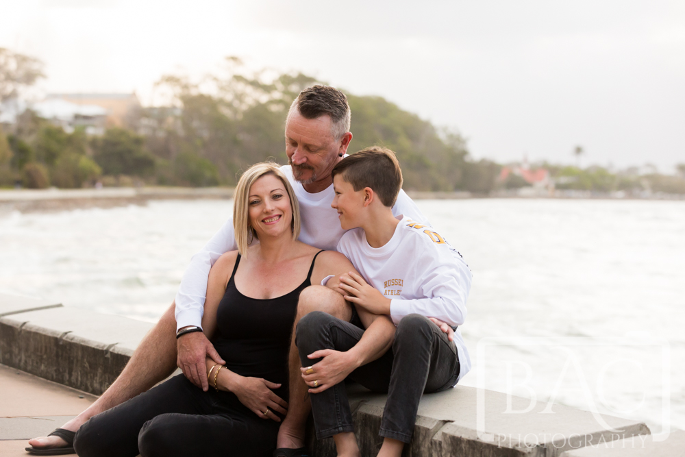 Family of 3 outdoor portrait Shorncliffe
