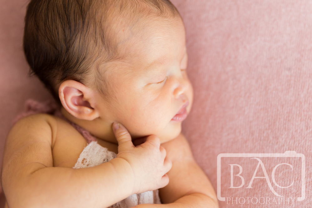 Close up of 10 day old newborn girl