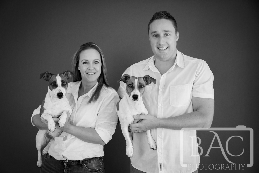 Studio couples portrait with dogs