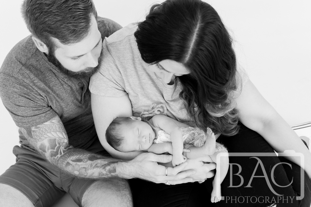 Black and white newborn family portrait