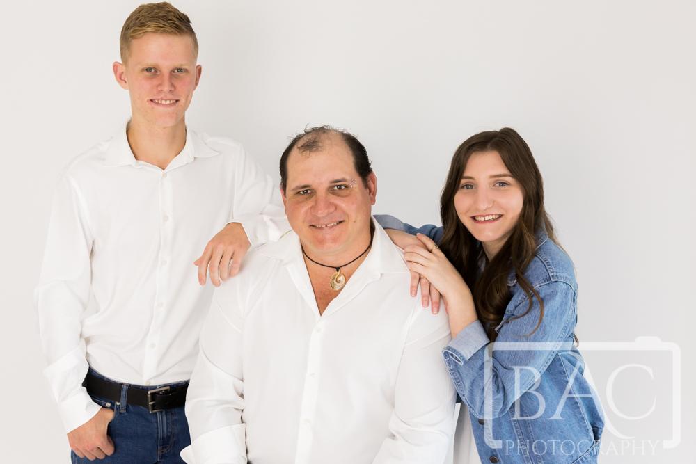 Dad with kids studio portrait