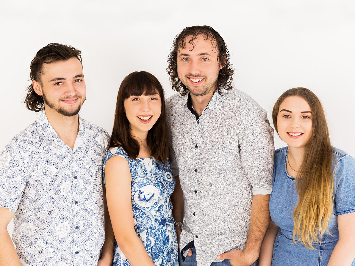 Adult siblings studio portrait