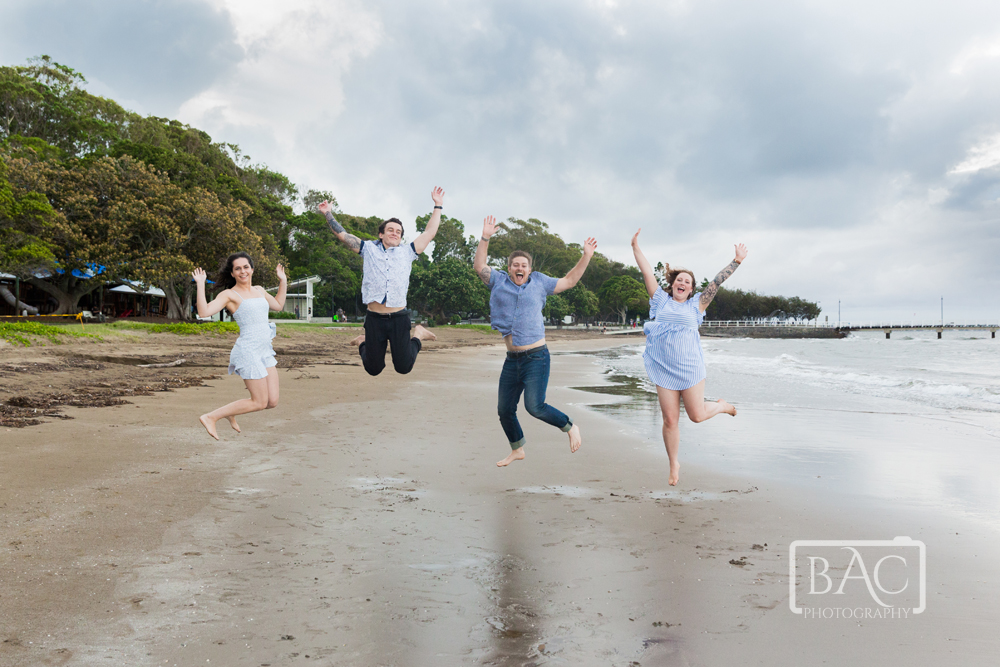 Fun adult kids jumping portrait
