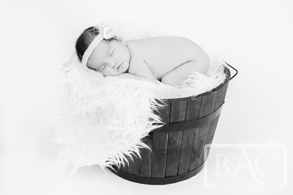Newborn baby girl in bucket