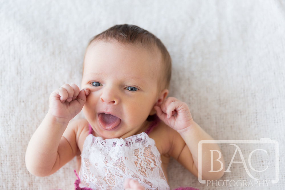 16 Day old Newborn girl portrait wide awake