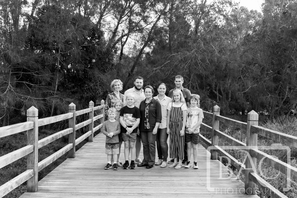 Extended outdoor family portrait with 3 generations, North Lakes