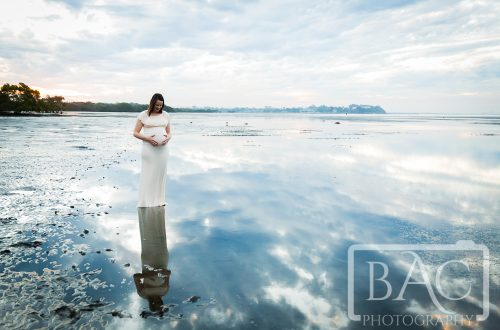 stunning maternity beach portrait