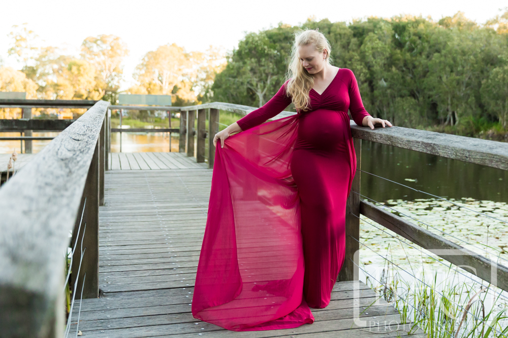 Maternity Portrait in flowing Red dress
