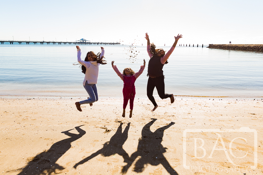 childrens sisters portrait on Shorncliffe beach