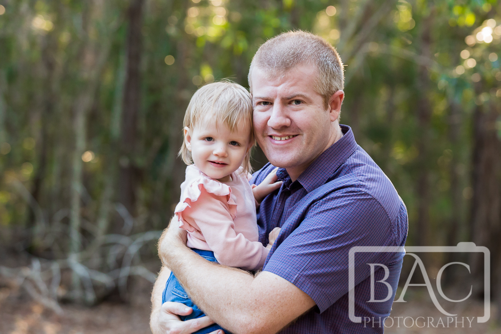 Outdoor portrait, dad with daughter