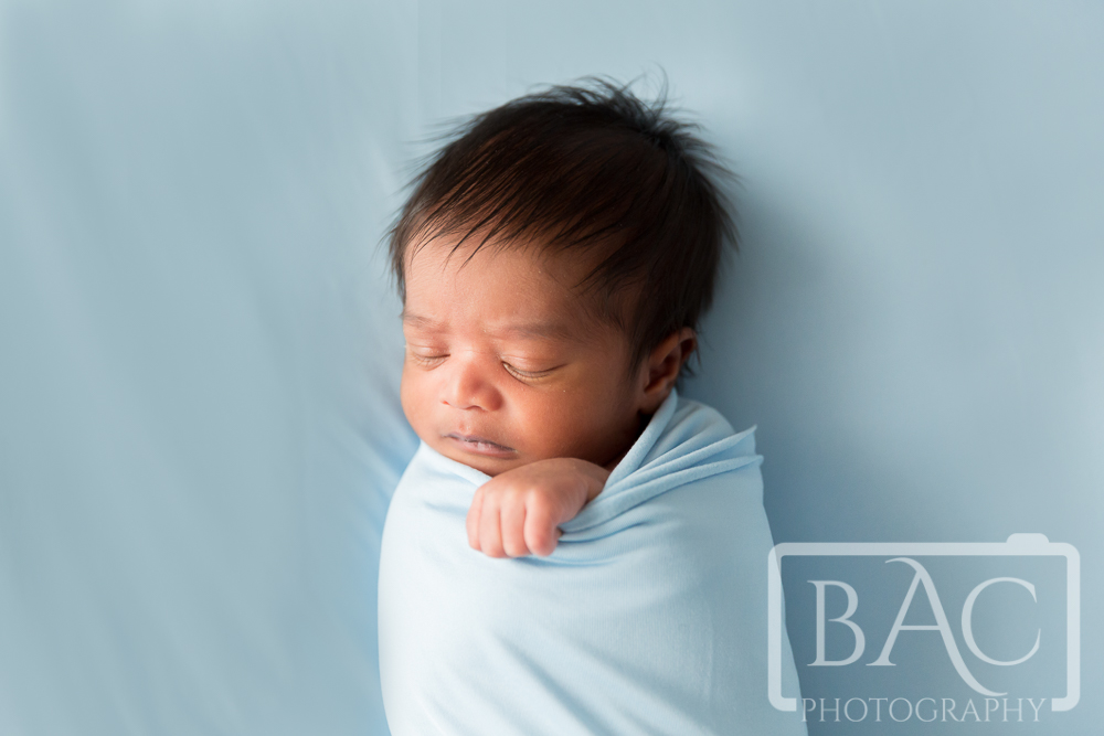12 Day old newborn portrait on blue rug