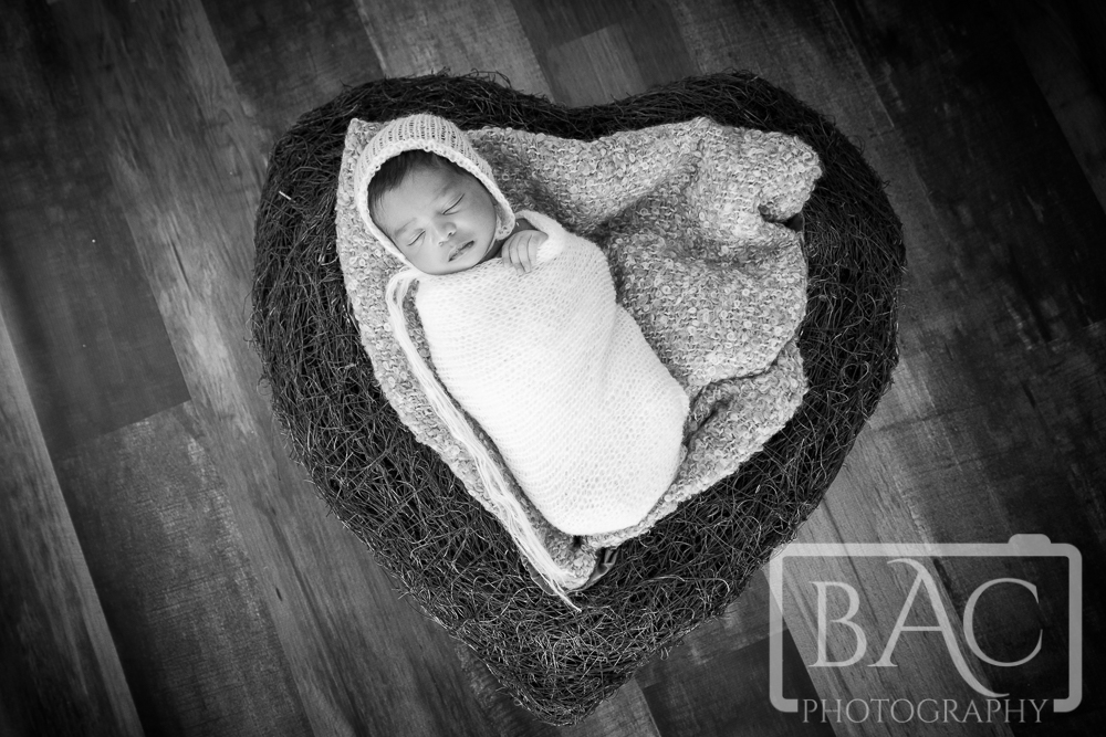 Newborn in heart shaped prop