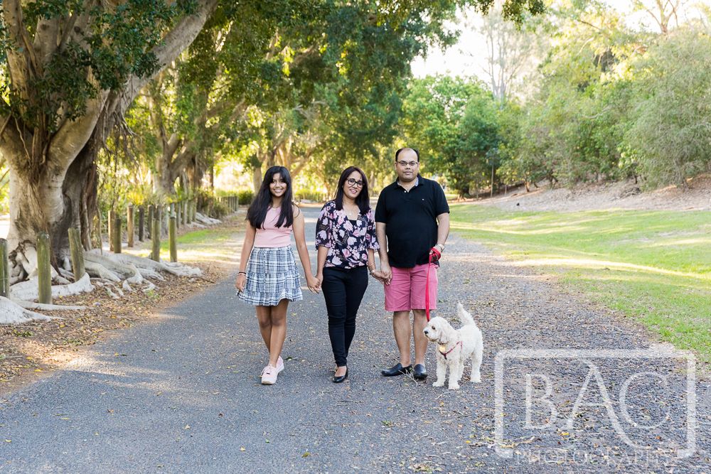 Family and dog outdoor portrait