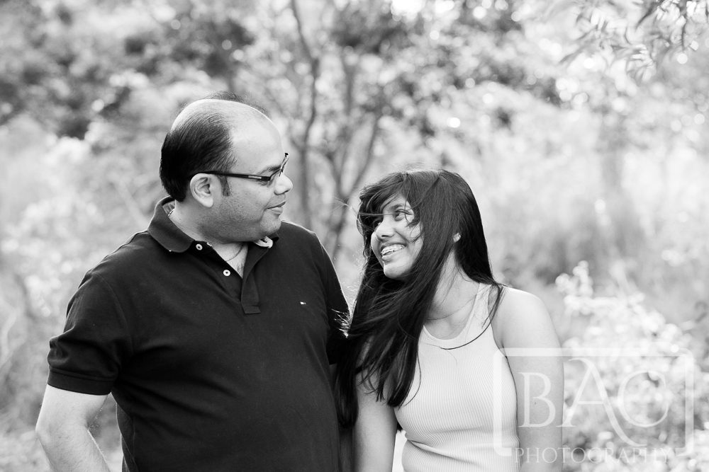 Father and daughter black and white portrait outdoor