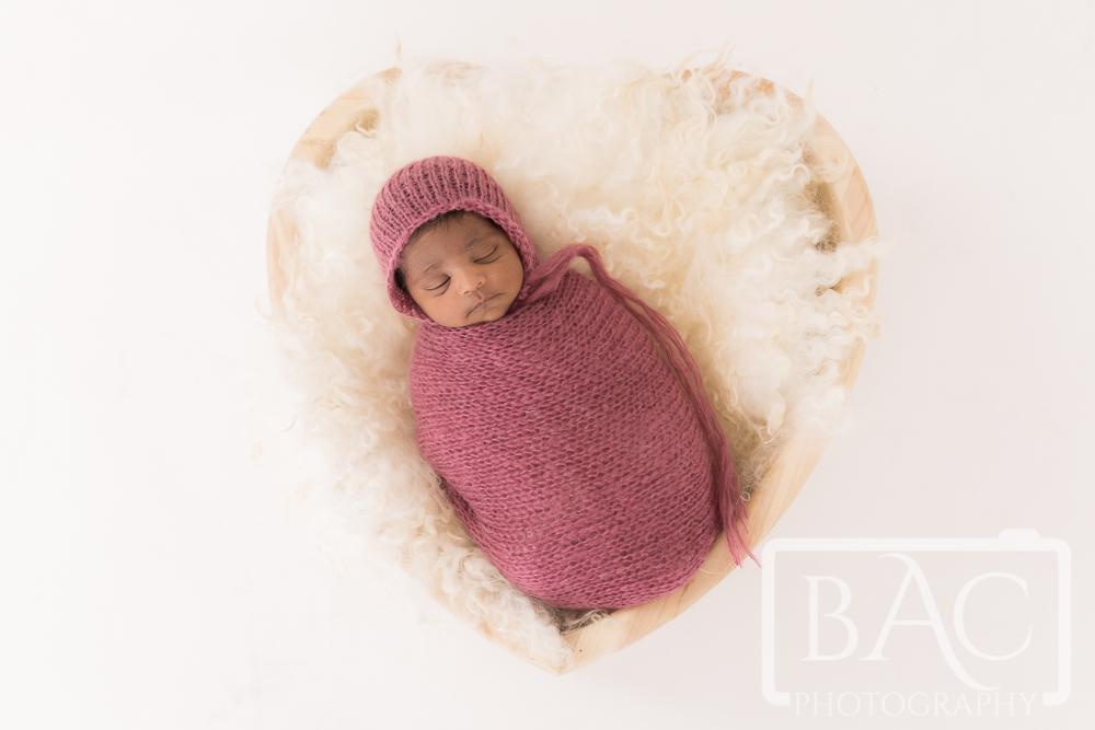 newborn basket portrait in studio