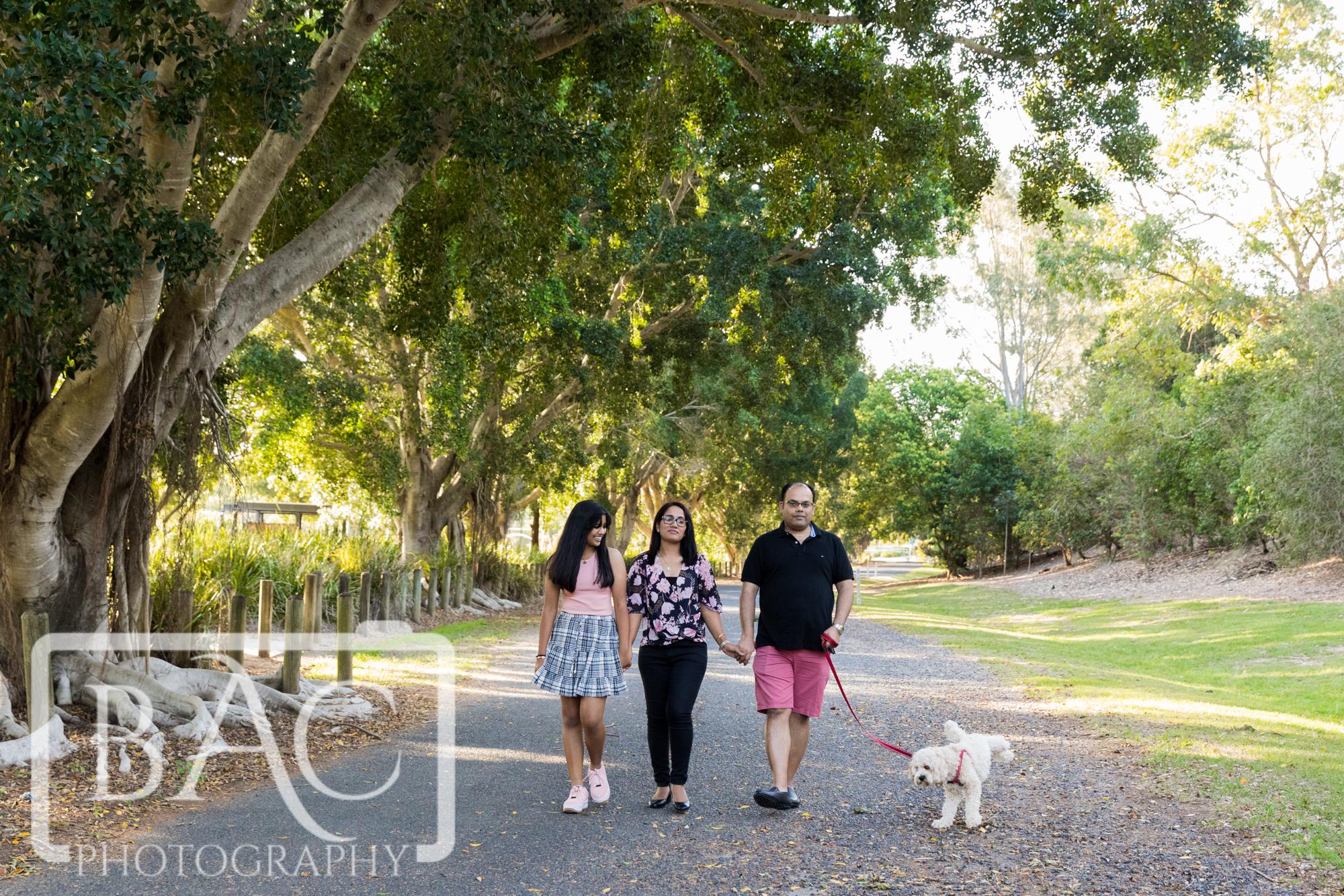 family portrait walking outdoor