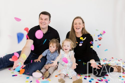 confetti family portrait in studio