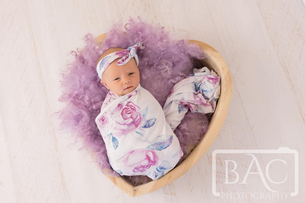 Newborn in heart box portrait in studio