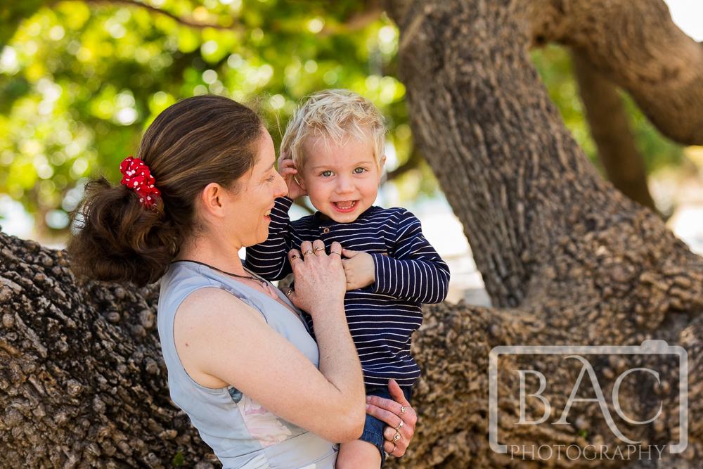 Mother and son park portrait