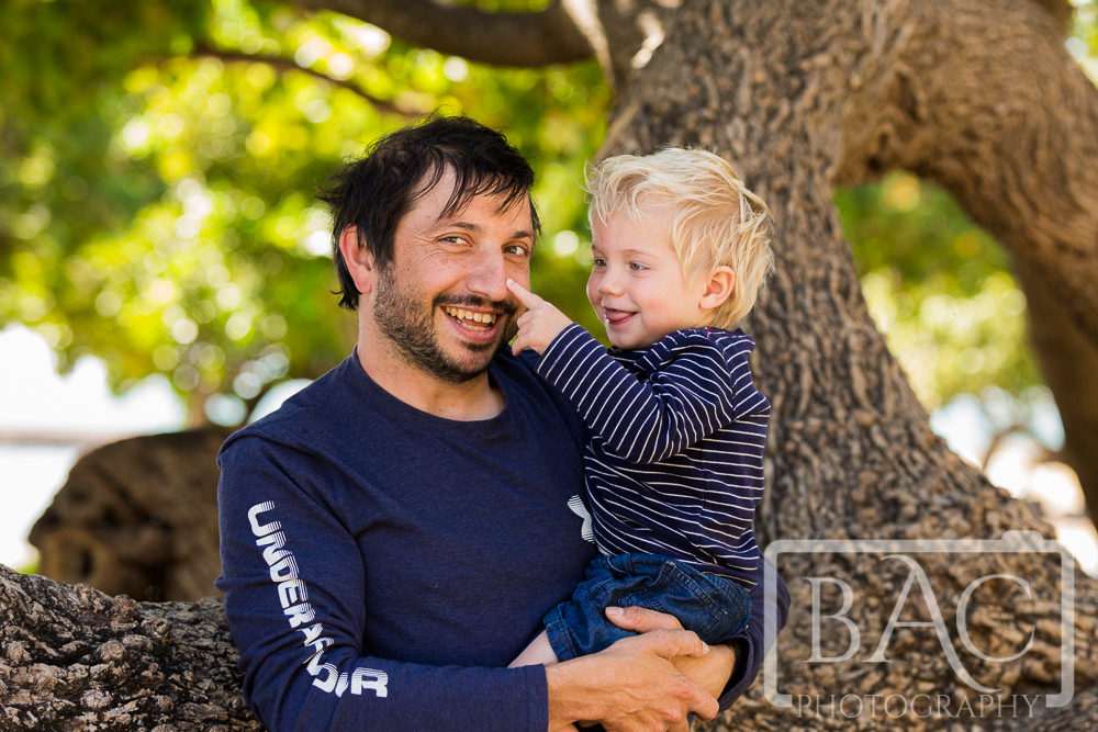 father and son portrait in Park