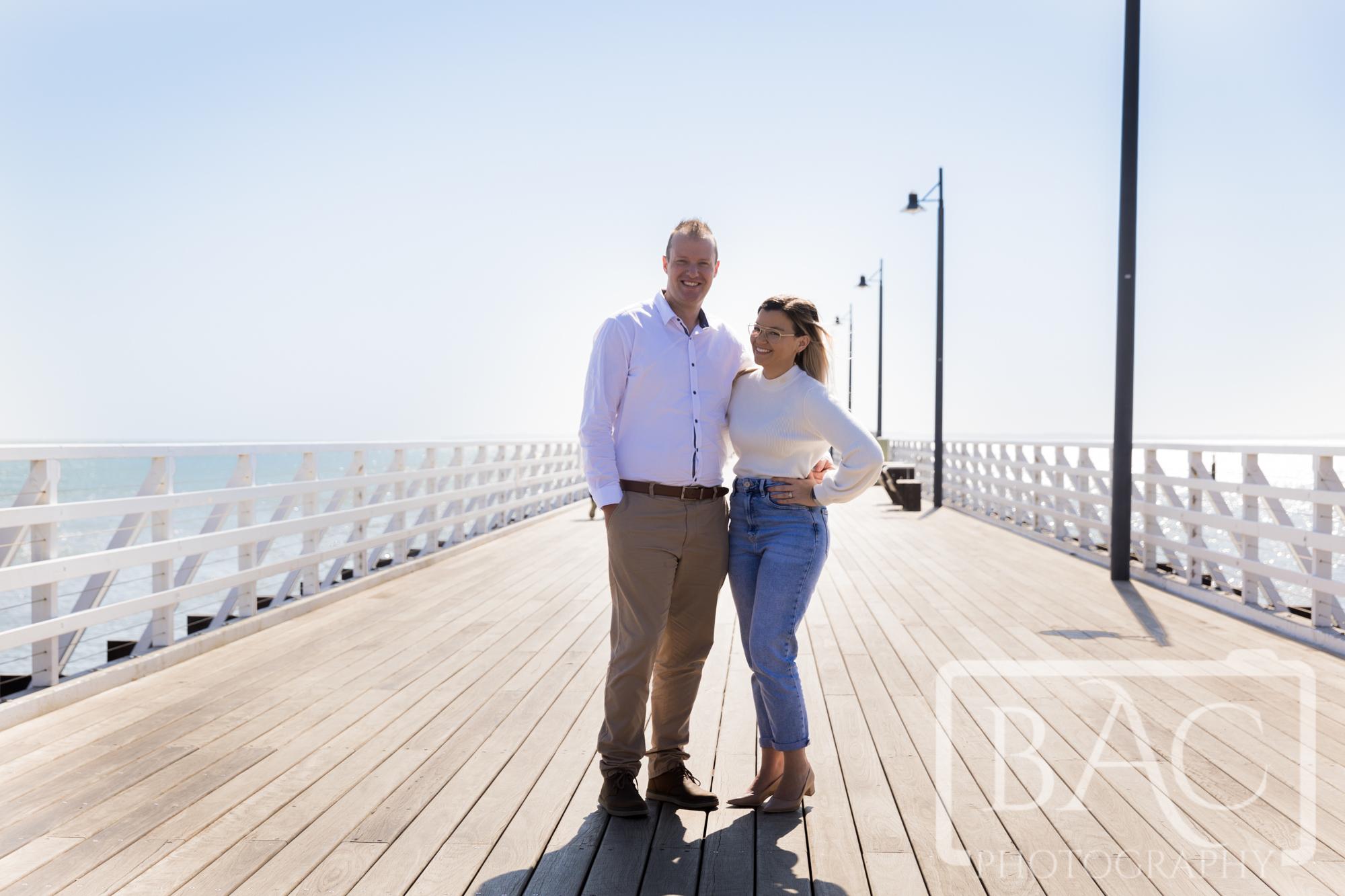 Couple portrait on Shorncliffe pier