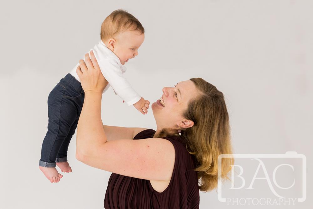 mum and baby portrait in studio