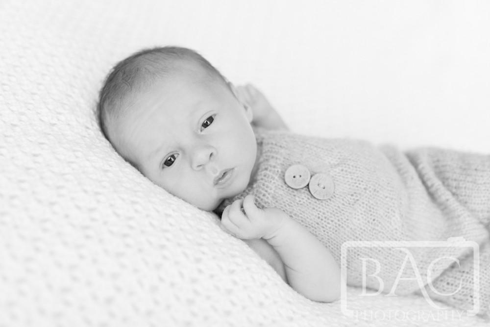 newborn portrait in studio black and white