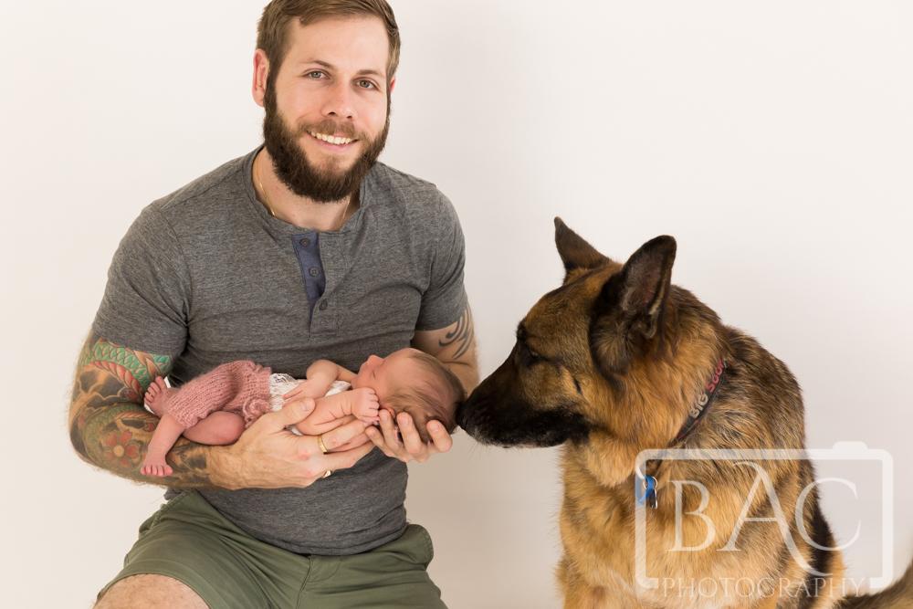 newborn with dad and german sheppard dog portrait