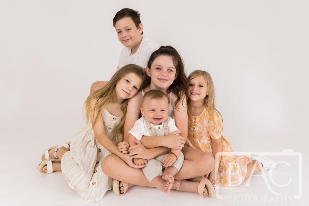 five cousins portrait session in studio