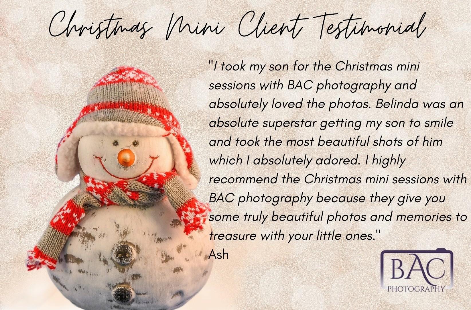 Christmas Mini client testimonial