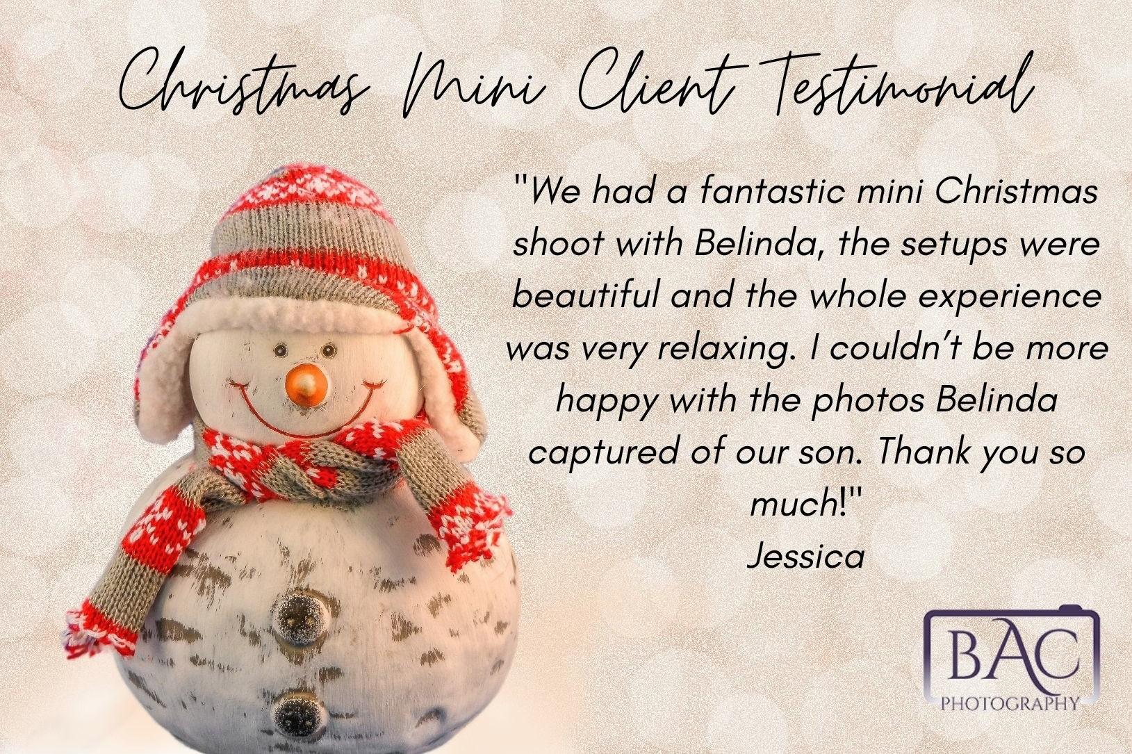 Christmas Mini portrait session client testimonial