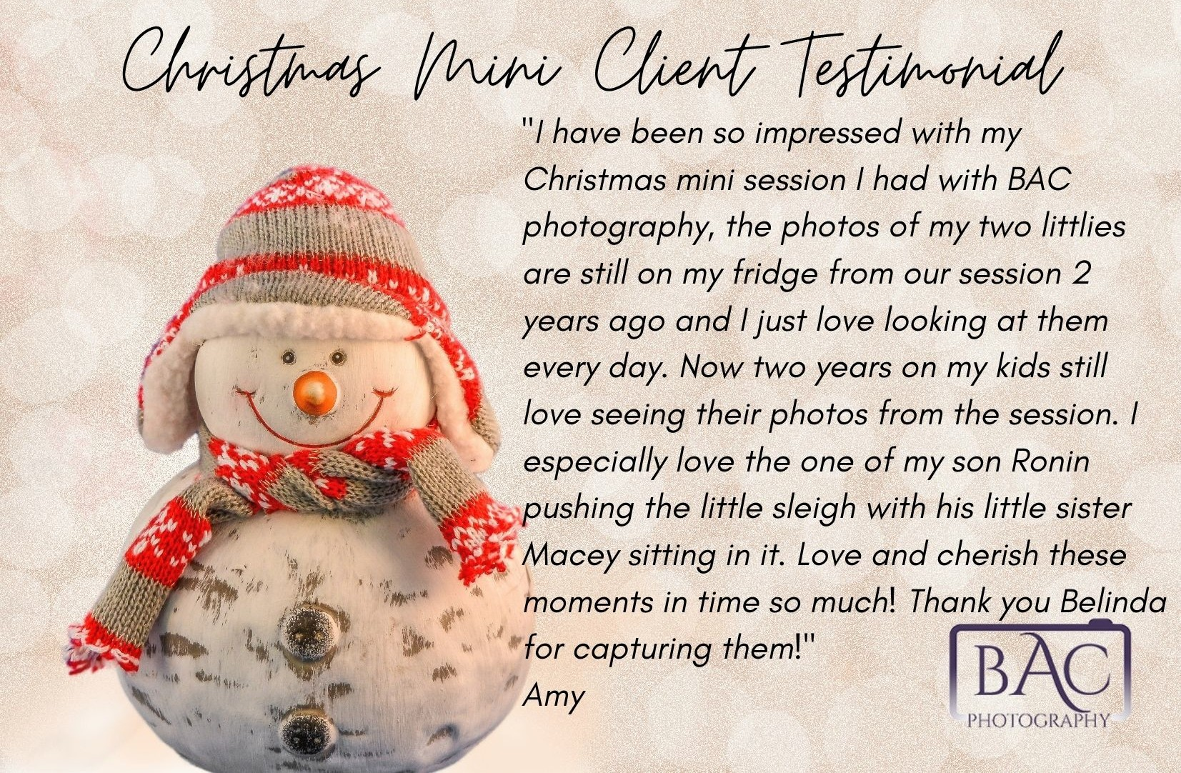 Christmas Mini past client testimonial portrait session