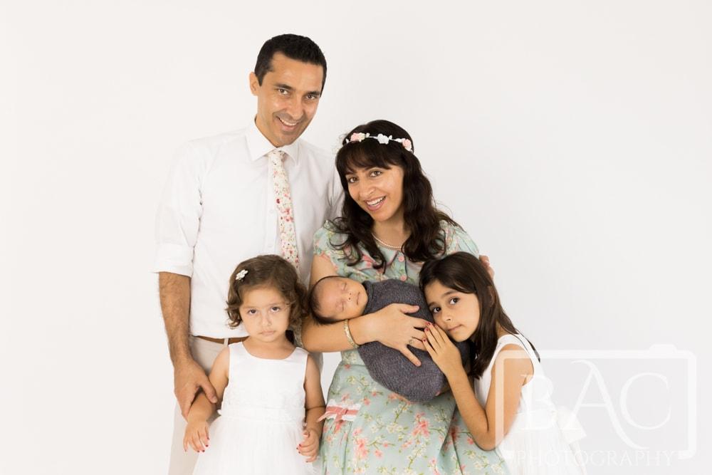 family of 5 newborn portrait session